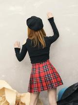 Women Girl RED Pleated Plaid Skirt School Girl Red Plaid Pleated Skirt Plus Size image 2