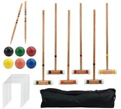 6 Player Deluxe Croquet Set Sturdy Black Carrying Bag 2 Stakes 6 Balls 9... - $89.09