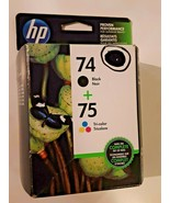 HP 74 & 75 Black Tri-color Ink Cartridges Sealed DEC 2015  FREE SHIPPING - $16.78