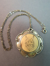 "VTG Antique Sterling Silver Pendant Necklace Cat Face Etched Carved 16"" Chain - $68.31"