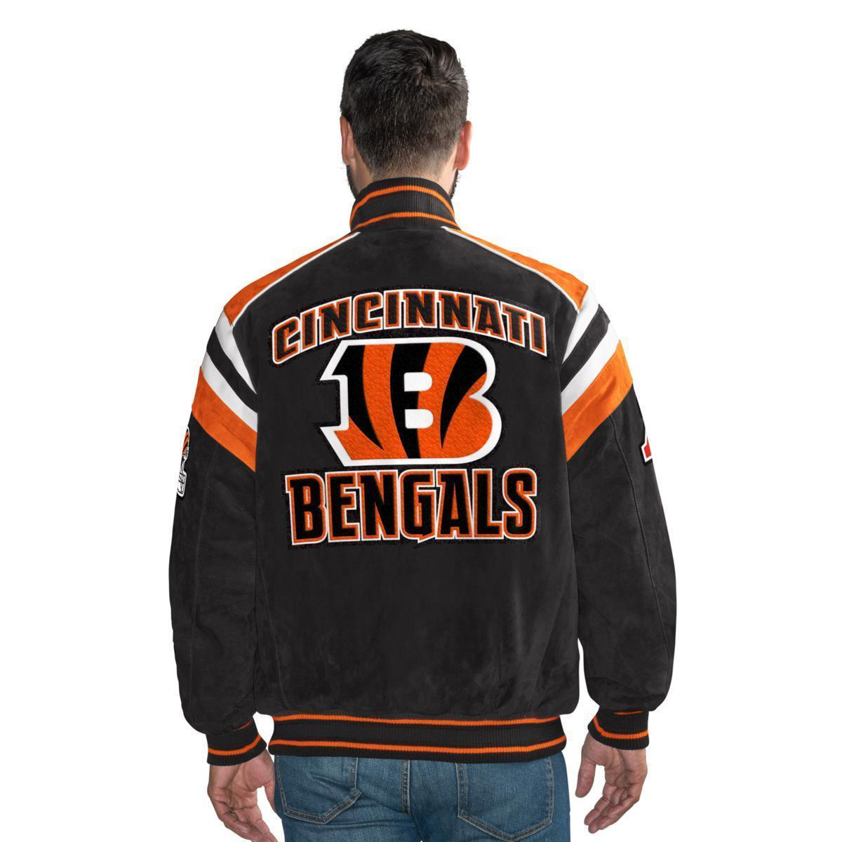 Primary image for GIII Officially Licensed NFL Cincinnati Bengals Varsity Suede Leather Jacket XXL