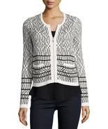 NWT $298 JOIE Jacolyn Ivory Black Tile Print Cardigan Sweater Jacket S S... - €50,50 EUR
