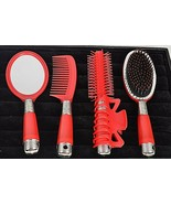 Gift Set Hair Growth Comb Brush Mirror Curling Iron Clip Multi Color Plastic - $8.75