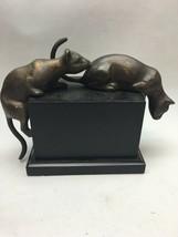DOLBI CASHIER BRASS PAIR CATS 1992 ART DECO FIGURINE Korea COUGAR ANIMAL - $98.99