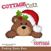 Peeking Santa Bear Cottage Cutz Die. Card Making. Scrapbooking