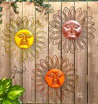"Metal Sun Face Wall or Fence Art Sculpture 22"" Indoor Outdoor Soleil Sol... - $30.39+"
