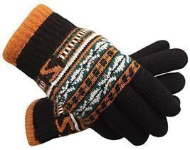 Black Autumn And Winter Men Thickening Warm Knitted Wool Fluff Gloves - £14.13 GBP