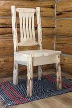 Log Kitchen Chair, Amish Made Chairs, Rustic Dining Furniture, Lodge Cab... - £207.04 GBP