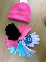 #. GIRLS BEANIE HAT & 4 PAIRS GLOVES ONE SIZE NWT** - $10.00