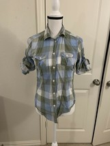 Women American Eagle Outfitters Blue/Green Plaid Button Front Shirt Sz S/P #B6 - $9.50