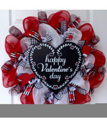 Adorable Happy Valentine's Day Heart  Deco Mesh Wreath - $89.99