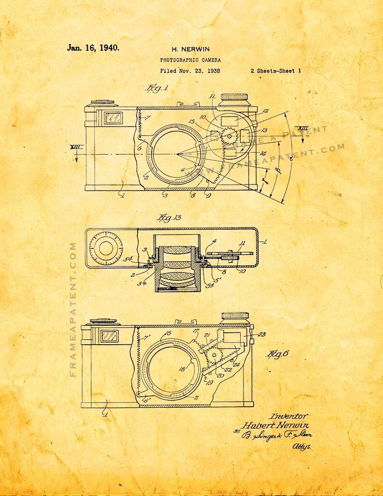 Primary image for Photographic Camera Patent Print - Golden Look