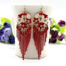 Boho Rhinestone Crystal Metal Chain Earrings Flower Big Long Earrings Wo... - $14.45