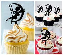 Wedding,Birthday Cupcake topper,silhouette fairy on the moon Package : 10 pcs - $10.00