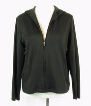 Lands' End Size M (10-12) Black Knit Active Zip Jacket - $20.99