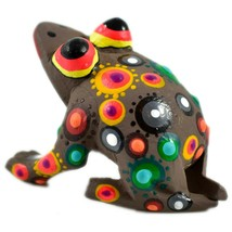 Handmade Oaxacan Copal Wood Carving Painted Folk Art Brown Frog Toad Figurine image 2