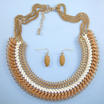 NEW Tan Gold Ivory Choker Unique Woven Bib Collar Statement Necklace Set... - $20.32