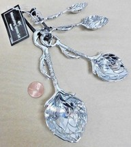 4pc BUNCH OF LEAFS measuring spoon set Silver Metal MOTHERS DAY SPRING *... - $19.27