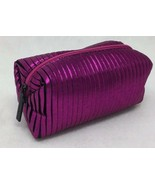 "MAC Shiny Metallic Dark Pink Zip Up Travel Makeup Bag Cube Rectangle 7"" ... - $7.23"