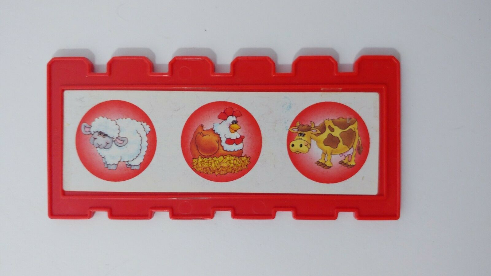 Fisher Price Barnyard Bingo game replacement fence board card red USED