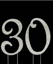 Crystal Covered Silver Number 30 30th Birthday Anniversary Number Cake Topper - $14.26