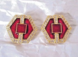 Vtg Red Enamel Clip Earrings Set in Gold Tone Metal surrounded by Rhines... - $35.53