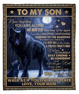 Personalized Blanket, To My Son Never Feel That You Are Alone Wolf Mom T... - $56.38+
