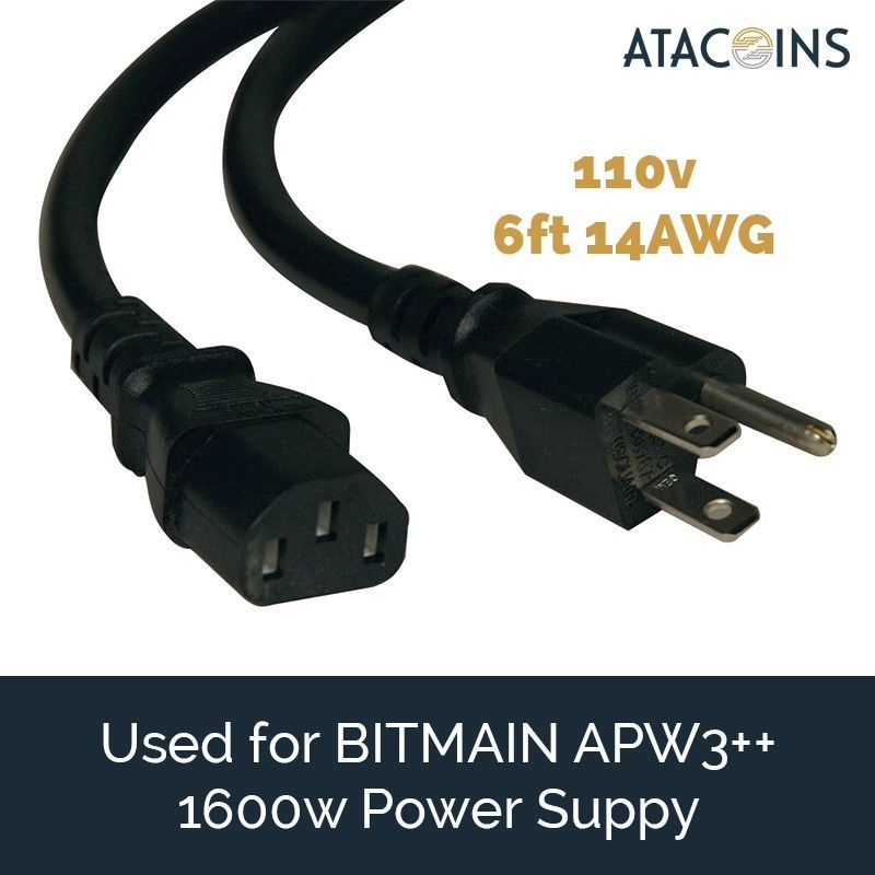 6ft 15AMP Power Cord 14awg NEMA 5-15P - C13 USA for BITMAIN APW3++, Printer, PSU