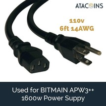 6ft 15AMP Power Cord 14awg NEMA 5-15P - C13 USA for BITMAIN APW3++, Printer, PSU image 1