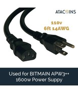 6ft 15AMP Power Cord 14awg NEMA 5-15P - C13 USA for BITMAIN APW3++, Prin... - $11.87
