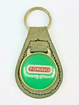 Vintage Ford Torino Logo Leather Keychain KeyRing FOB Tab Green w green face - $14.95