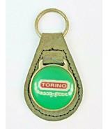 Vintage Ford Torino Logo Leather Keychain KeyRing FOB Tab Green w green face - $14.95