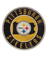 "NEW Pittsburgh Steelers 12"" Retro Circle Wood Sign Man Cave Bar Decor  - $17.77"