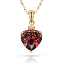 3.07Ct White Sapphire & Heart Alexandrite Charm Pendant14K Yellow Gold w... - $68.88+