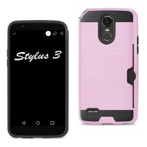 Reiko Lg Stylo 3- Stylus 3 Slim Armor Hybrid Case With Card Holder In Pink - $7.20