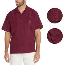 Men's Burgundy Beach Wedding Casual Short Sleeve Guayabera Dress Shirt - 2XL image 1