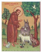 """St. Francis & the Animals Icon - 3"""" x 4"""" Wooden Plaques With Lumina Gold"""