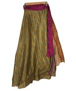 "Sari Wrap Skirt Reversible 39""L 46""W Green Brown Two sides - $29.70"