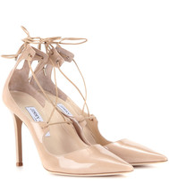 Jimmy Choo Vita 100 Nude Patent Leather Pump Pointy Toe Lace Up Shoe 40 -9 - $399.00