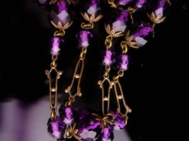 "Antique Art nouveau necklace - pre-war Amethyst Bohemian glass 36"" neckl... - $375.00"