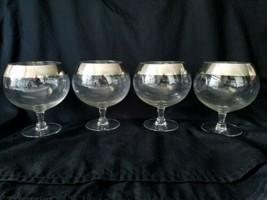 Dorothy Thorpe Silver Band Balloon Wine Glasses Short Stem Polished Rare - $56.95