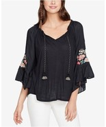 Vintage America Black Embroidary Bell Sleeve Peasant Blouse Sz S NWT - $34.65