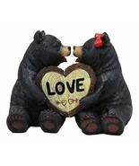 Ebros Whimsical Love is in The Air Black Bear Couple Kissing and Holding... - $19.99