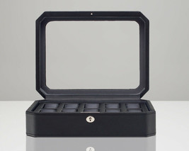 WOLF Windsor 10 Piece Watch Box with Cover (Black) Storage Case 4584029 - $115.00
