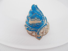 Vintage Siam Sterling Silver and Blue enamel Royal Barge Brooch Pin - $28.00