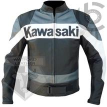 KAWASAKI GREY MOTORBIKE MOTORCYCLE BIKERS COWHIDE LEATHER ARMOURED JACKET - $194.99