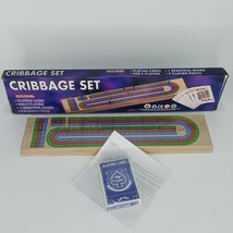 Cribbage Board Set 3 Tracks With Pegs Playing Cards No. 601 15 In. Sealed - $12.99