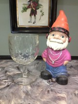VINTAGE THUMBPRINT GLASS GOBLET, CURTAIN RUFFLE DESIGN  - $1.99