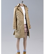 1/6 Scale Female Trench Coat Seamless Figure Clothing Black & Khaki Long... - £26.19 GBP