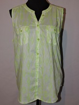 American Eagle Outfitters Sleeveless Top Blouse Bright Green Summer Shir... - $16.99